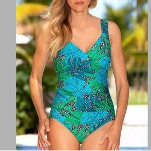Jantzen Palm Springs surplice one-piece Swimsuit